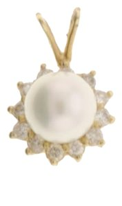 Other Diamond and Pearl pendant set in 14k yellow gold