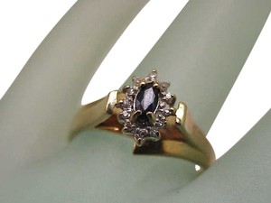 Other Amazing Estate Vintage 10k Yellow Gold Diamond & Sapphire Ring, 1950's