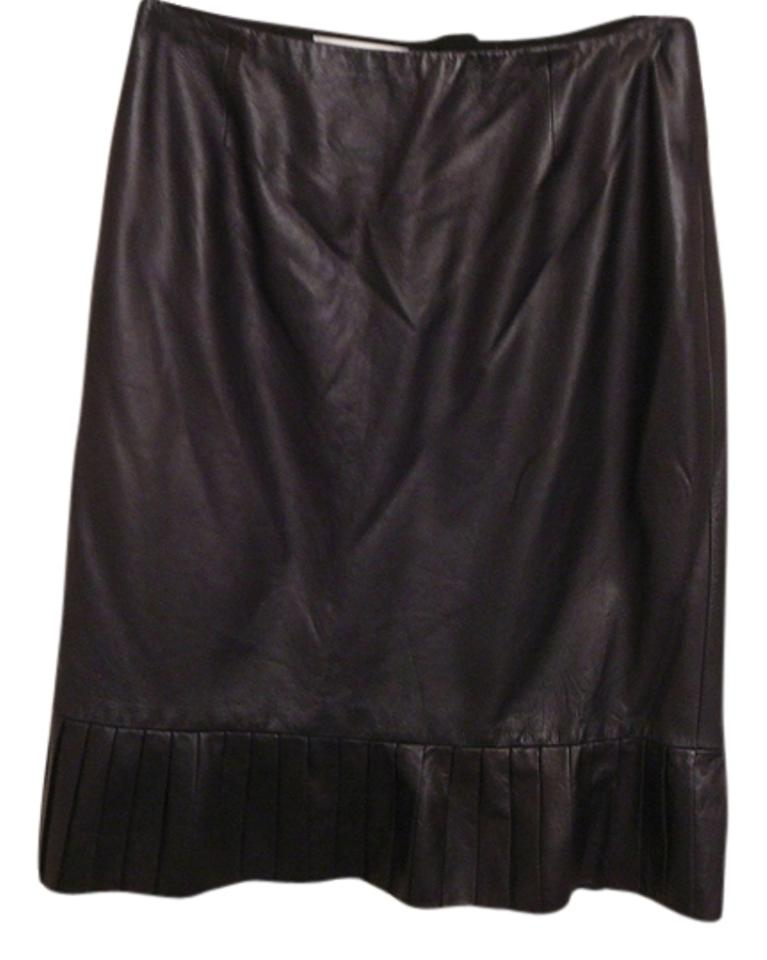 7196a7950 Badgley Mischka Black New Pleated Leather Skirt Size 8 (M, 29, 30 ...