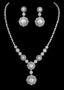 Exquisite Pearl And Cz Bridal Jewelry Set