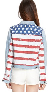 Forever 21 American Flag Washed Denim Womens Jean Jacket