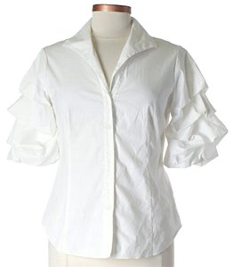 Lafayette 148 New York Button Down Shirt White