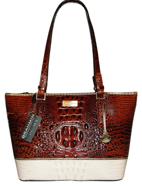 Item - Med Asher Coquette Tri Texture Pecan Creme Gold Leather Tote