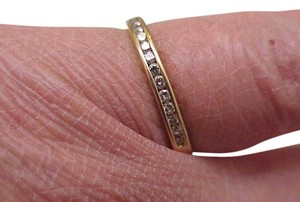 Other Estate 14K Gold Yellow 13 Diamonds Wedding Ring Band,1950s