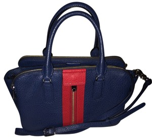 Marc Jacobs Marc By Pebbled Leather Buffalo Leather Satchel in Navy Blue/ Red