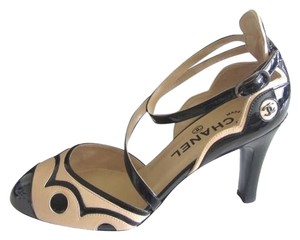 Chanel New D'orsay Beige Black and Tan Pumps