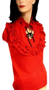 Nick & Mo Red Bib Front Ruffles And Ruffle Sweater