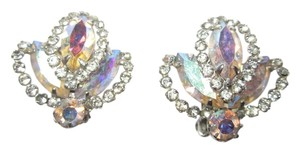 Albert Weiss Vintage Aurora Borealis AB Crystal & Rhinestone Fleur de Lys Clip Earrings Signed --Superb!