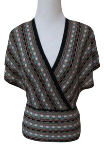 M Missoni M Kimono Wrap Knit Top Metallic green black multi