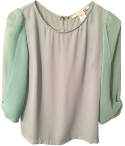 Ellison Going Out Green Pastel Sexy Silk Blouse Top