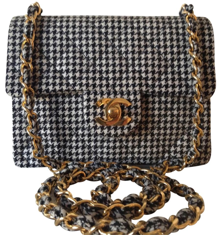 caeba5075fc8a Chanel Classic Flap Super Rare Vintage Mini Houndstooth Wool Leather ...