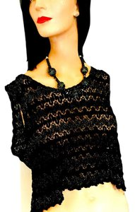 Russell Imports Crop Lace Metallic Gold Silver Shear Lace Top .
