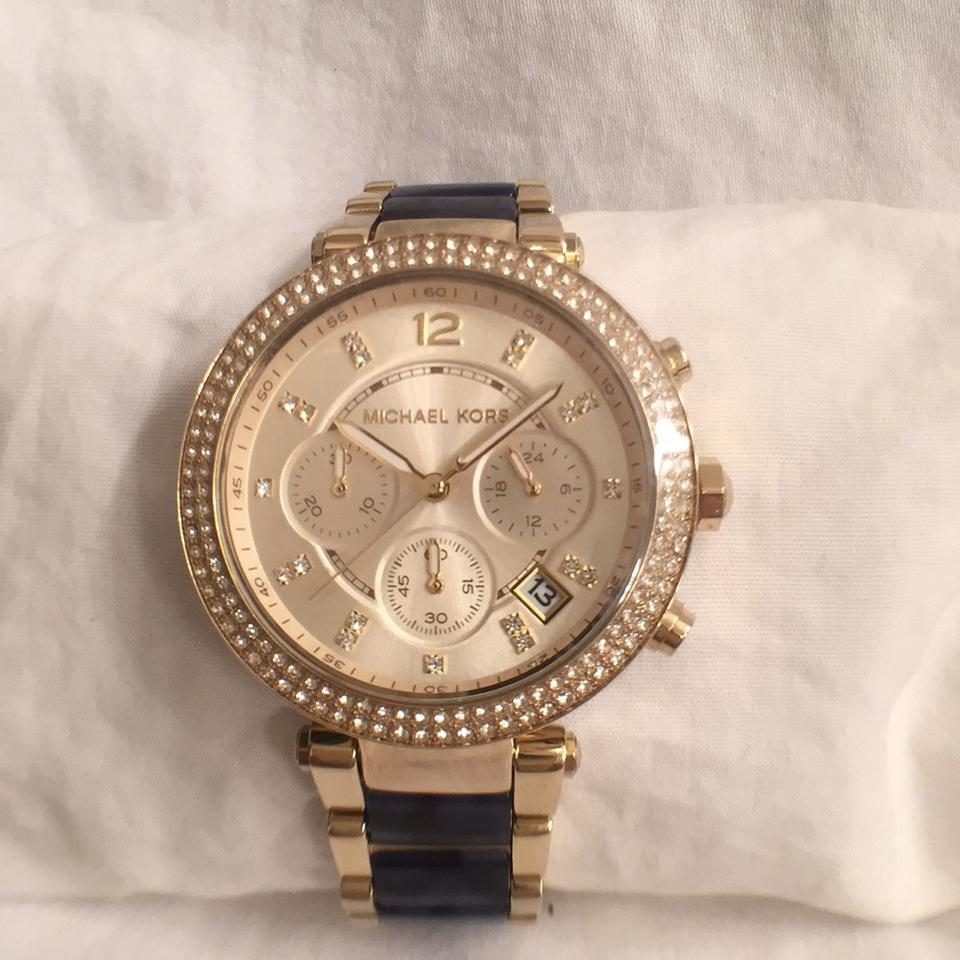 Michael Kors NEW! Womens Parker Blue Acetate Chronograph W Crystal on Face  ... 9483674a69