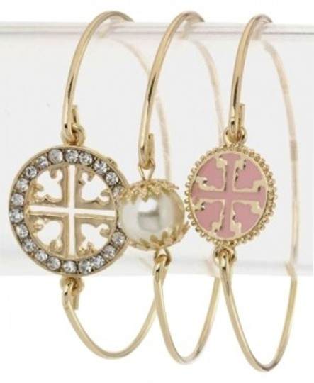 Other NEW Tory Burch Style Pink Goldtone Bangle Bracelets Set of 3