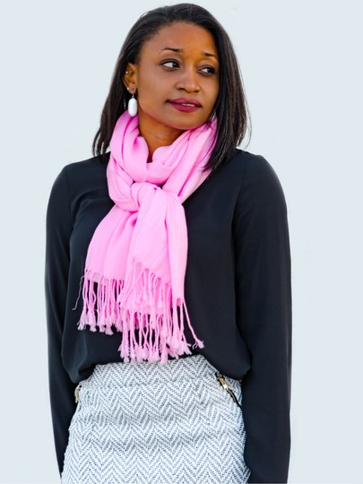 Private Collection TWISTED TASSEL FRINGE PASHMINA-STYLE SCARF - PINK