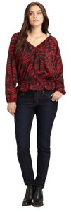 Michael Kors Animal Print Plus-size Date Night Longsleeve Top Red Animal