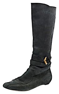 Jimmy Choo Nubuck Knee High Black Boots
