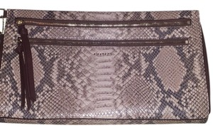 Coach Brown python print w/ light cream tone Clutch