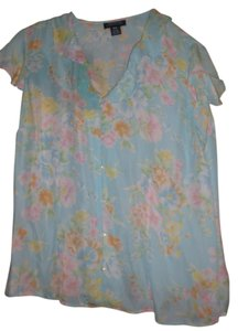 Jones New York Button Down Shirt aqua w/ peach/pink flowers