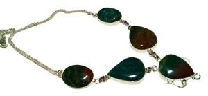 Jasper Gemstone Large Stone Necklace 925 Silver Blue Green Brown J462