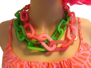 Bright Pink and Green link necklaces SET OF 2