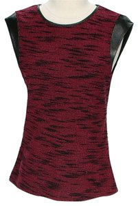 Tart Tweed Leather Trim Top Red