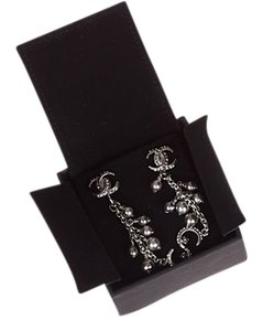 Chanel Chanel Rhinestone Chandelier Silvertone Bead Earrings