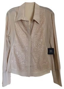 Hervé Leger Silk Blouse Lace Button Down Shirt Beige
