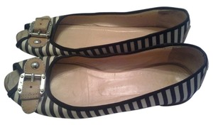 Giuseppe Zanotti Italy Striped Leather Black Flats