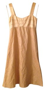 Donna Morgan Satin Empire Waist Metallic Lined Dress