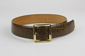 Leather Belt Brass Brown Croco Embossed Leather 26-30 19932197 Belt B182