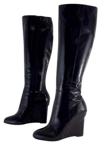 Vera Wang Black Leather Tall Boots