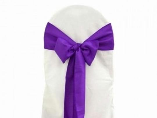 Purple 60 Chair Sash Bows Reception Decoration