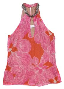 Trina Turk Pink Orange High Neck Top