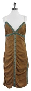 Nicole Miller Tan Teal Beaded Dress