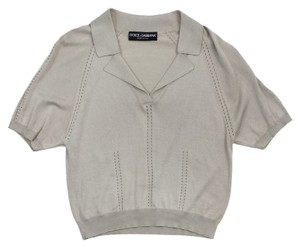 Dolce&Gabbana Taupe Collared Short Sleeve Shirt Sweater