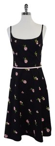 Shoshanna Black Pink Floral Embroidered Dress