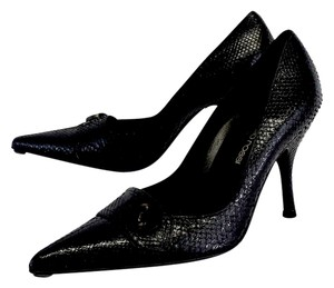 Sergio Rossi Black Snakeskin Butto Toe Pumps