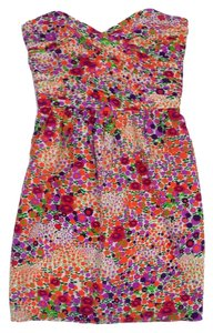 Shoshanna short dress Multi Color Floral Silk Strapless on Tradesy