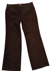 Ann Taylor LOFT Suede Leather Boot Cut Pants Chocolate Brown