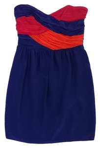 Shoshanna short dress Pink Orange Blue Strapless on Tradesy