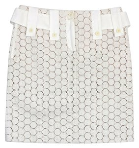 Chlo Cream Eyelet Overlay Silk Skirt