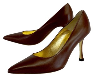 Giovanni Monte Brown Leather Pointed Toe Pumps