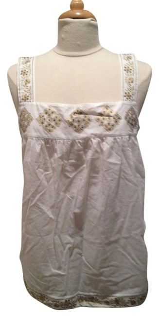 MICHAEL Michael Kors Embellished Sequin Top White and Gold