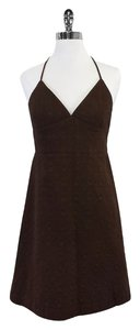 MILLY Brown Textured Cotton Halter Dress