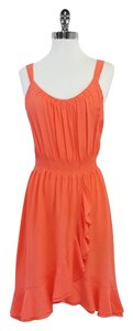 Rebecca Taylor Coral Silk Sleeveless Dress