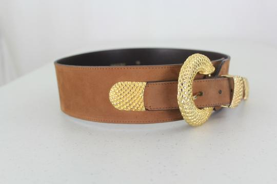 Other Unbranded Woman Designer Italian Brown and Gold Buckle Leather Belt Size XS/S