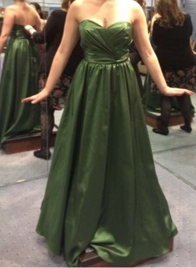 Alfred Angelo Pine Green Taffeta 7187 Formal Bridesmaid/Mob Dress Size 14 (L)