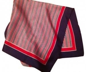 Glentex RED WHITE BLUE Vintage Geometric Silk Scarf nautical