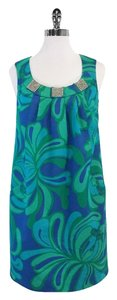 Lilly Pulitzer short dress Green Blue Print Cotton Shift on Tradesy